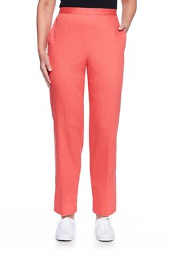 Image: Petite Flat Front Denim Proportioned Medium Pant