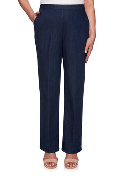 Image: Petite Flat Front Proportioned Medium Denim Jean