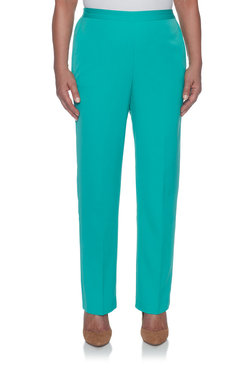 Image: Petite Flat Front Proportioned Medium Twill Pant