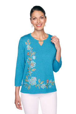 Image: Petite Floral Asymmetric Embroidery Sweater