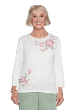 Petite Floral Asymmetrical Sweater