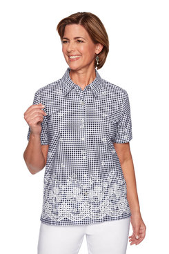 Image: Petite Floral Border Gingham Top