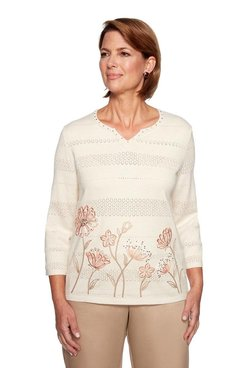 Image: Petite Floral Border Sweater