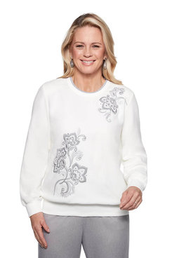 Image: Petite Floral Embroidered Top