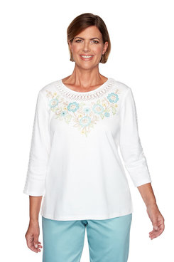 Image: Petite Floral Embroidered Yoke Top
