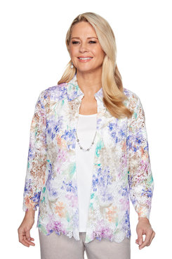 Image: Petite Floral Lace Two-For-One Shirt