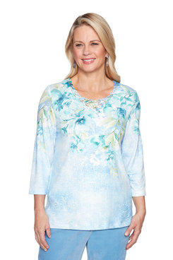 Image: Petite Floral Lace Yoke Knit Top