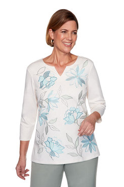 Image: Petite Floral Leaf Embroidery Top