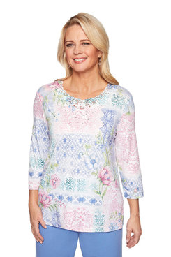 Image: Petite Floral Patchwork Knit Top