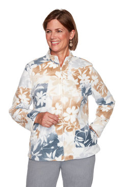 Image: Petite Floral Patchwork Polar Fleece Jacket