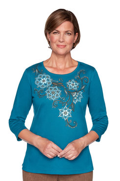 Image: Petite Floral Scroll Yoke Top