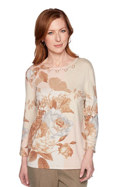 Image: Petite Floral Shimmer Patchwork Sweater