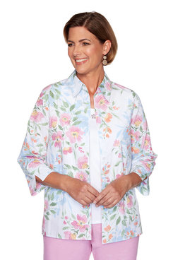 Image: Petite Floral Two-for-One Top