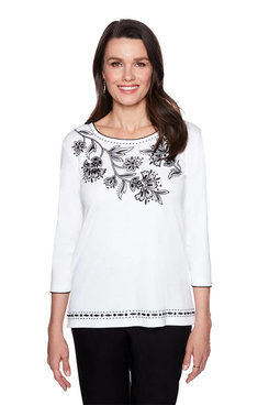 Image: Petite Floral Yoke Embroidered Top