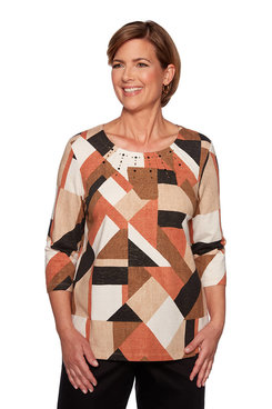 Image: Petite Geometric Colorblock Top