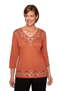 Image: Petite Geometric Embroidery Top