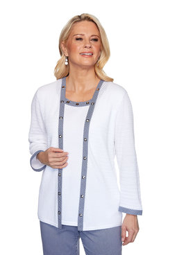 Image: Petite Gingham Trim Two-For-One Sweater