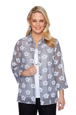 Image: Petite Gingham Two-For-One Shirt