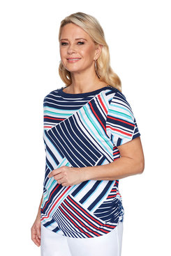 Image: Petite Graphic Striped Top
