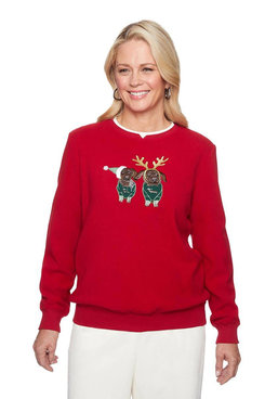 Image: Petite Holiday Puppies Embroidered Anti-Pill Pullover