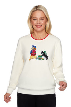Image: Petite Holiday Puppies Embroidered Pullover