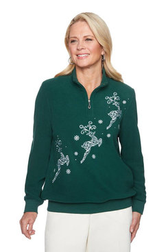 Image: Petite Holiday Reindeer Embroidered Anti-Pill Pullover