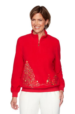 Image: Petite Holiday Tree Embroidered Pullover