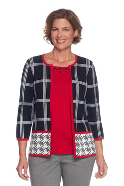Image: Petite Houndstooth Border Two For One Sweater