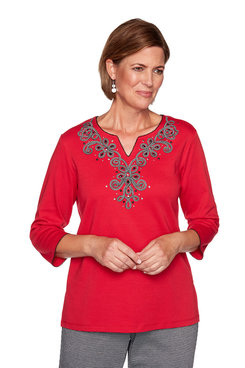 Image: Petite Houndstooth Soutache Yoke Top