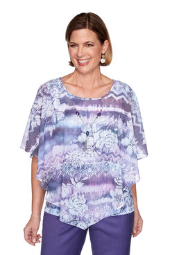 Image: Petite Ikat Floral Two-For-One Flutter Top