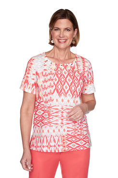 Image: Petite Ikat Patchwork Short Sleeve Top