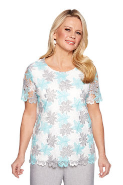 Image: Petite Lace Floral Overlay Top