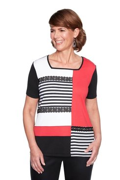 Image: Petite Lace Grommet Colorblock Top