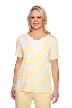 Image: Petite Lace Neck Monotone Stripe Top
