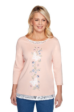 Image: Petite Lace Trim Butterfly Top