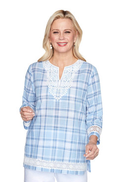 Image: Petite Lace Trim Plaid Shirt