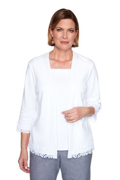 Image: Petite Lace Trim Two-For-One Top