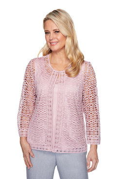 Image: Petite Lace Two-For-One Blouse