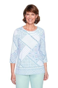 Image: Petite Lacy Patchwork Border Print Top