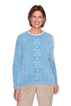 Image: Petite Medallion Center Embroidery Sweater