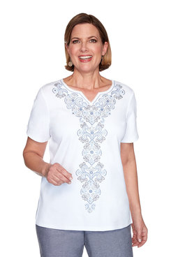 Image: Petite Medallion Center Embroidery Top