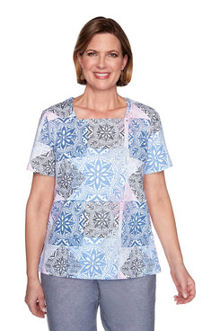 Image: Petite Medallion Printed Short Sleeve Top