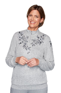 Image: Petite Melange Embroidered Yoke Top