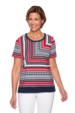 Image: Petite Mitered Stripe Knit Top