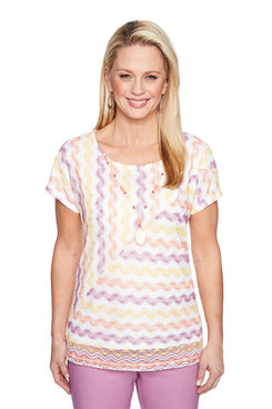 Image: Petite Mitered Texture Stripe Top W/ Necklace