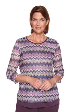 Image: Petite Mixed Media Chevron Top