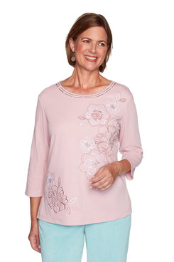 Image: Petite Monotone Embroidered Flowers Top