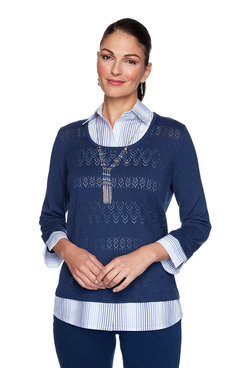 Image: Petite Ombre Stripe Woven Trim Two-For-One Sweater