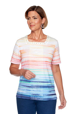 Image: Petite Ombre Striped Center Lace Top