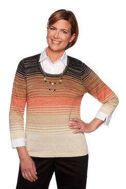 Image: Petite Ombrè Sweater with Woven Trim